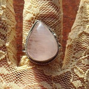 Genuine Mystic Rose Quartz Cabachon Ring